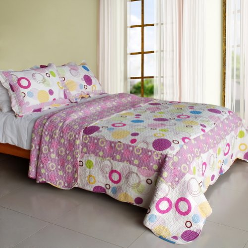 Bubble Cotton Bed ([Colorful Bubble] Cotton 3PC Vermicelli-Quilted Printed Quilt Set (Full/Queen)