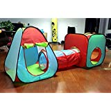 3 Pc Children's Pop Up Play Tent Set of Square and Triangle Tents and Caterpillar Tunnel