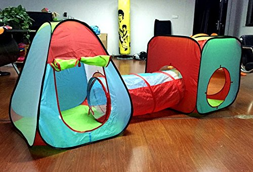 (3 Pc Children's Pop Up Play Tent Set of Square and Triangle Tents and Caterpillar Tunnel)