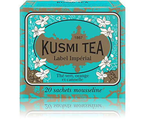 Kusmi Tea - Imperial Label - Sencha Green Tea Blend with Orange, Cardamom, Cinnamon Bark, Aniseed & Ginger - All Natural Premium Loose Leaf Green Tea in 20 Eco-Friendly Muslin Tea Bags (20 Servings)