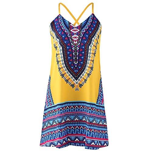 (Boho Dresses Forthery Women Summer Casual Vintage Beach Swing Sundress Mini Dress Tank Sleeveless A-Line Dress(Yellow,US Size L = Tag XL))