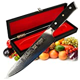 Tatara Japanese Chef Knife for Sushi 8 inch - Professional Gyuto VG10 Damascus with Gift Case