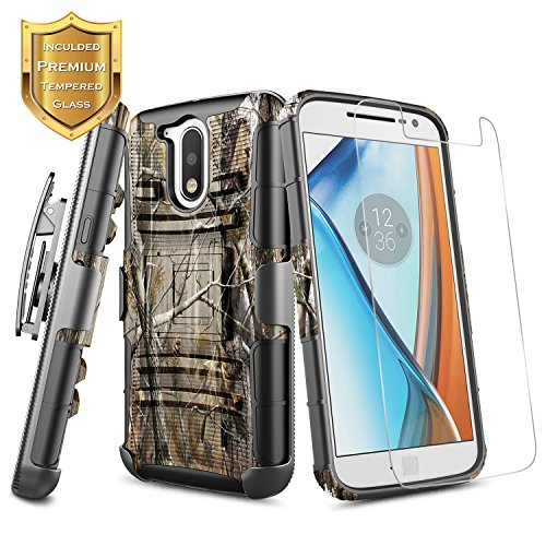 Moto G4 Plus Case with [Tempered Glass Screen Protector], NageBee [Heavy Duty] Shock Proof [Belt Clip Holster Kickstand] Combo Rugged Case For Motorola Moto G Plus 4th Gen XT1644 (Camo) (Moto G Phone Cell Camo Case)
