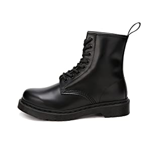 Women's Fashion Leather Lace Up Ankle Bootie Winter Combat Boots