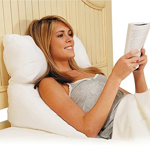 (Set) 10-in-1 Flip Pillow and Cover - Accommodates Sleeping, Reading - White by Contour Products
