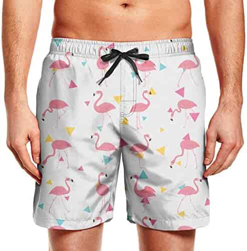 4bbb89d7d4 Himgre Men's Beach Shorts 3D Printed Swim Trunks with Pockets Funny Dog Pizza  Bathing Suits