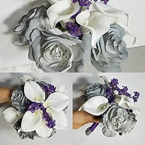 Grey Purple Rose Calla Lily Bridal Wedding Bouquet & Boutonniere 48