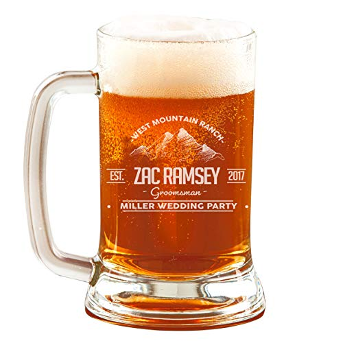 Personalized Etched 16oz Glass Beer -