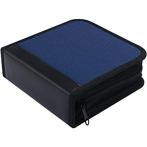 MNDADISK CD DVD VCD Fashion Storage Holder 40-Disk Carry Bag Zipper Beige (Blue )