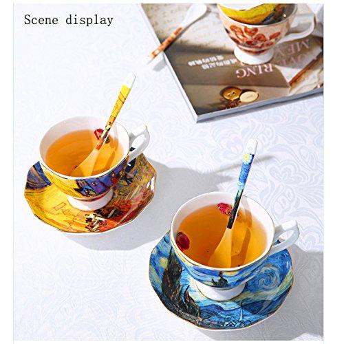 Vincent Van Gogh Bone China Tea Cup and Saucer Set With Gift Box, 8-Ounce Art Coffee Mugs Set (Set of 6) by Yosou Home (Image #2)