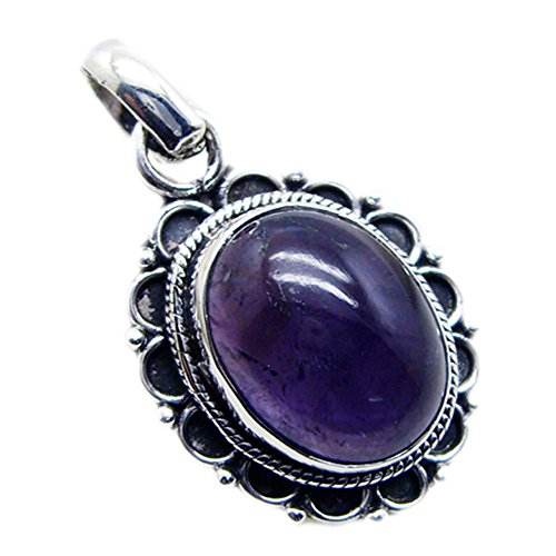 Amethyst Cabochon Pendant - 55Carat Natural Amethyst Silver Pendant for Women February Birthstone Charms Chakra Healing Necklace Oval Shape