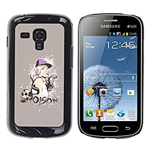 Qstar Arte & diseño plástico duro Fundas Cover Cubre Hard Case Cover para Samsung Galaxy S Duos / S7562 ( Poison Quote Swag Skull Style Blonde Woman)