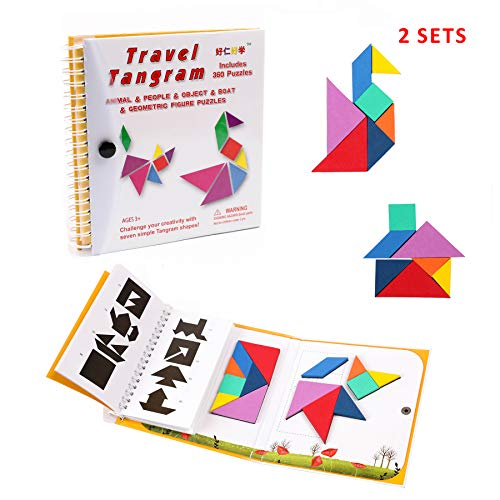 Tangram Travel Game Magnetic Puzzle Book Game Tangrams Jigsaw Shapes Dissection with Solution Questions Traveler Challenge IQ Educational Toy for 3-100 Years Old with 2 Set of Tangrams 360 -