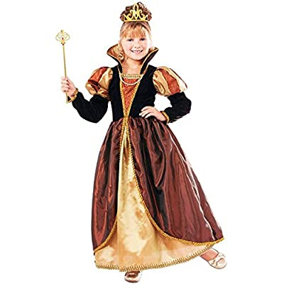 Designer Collection Deluxe Golden Queen Costume Dress, Child Medium