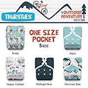 Thirsties Package, One Size Pocket Diaper Snap, Outdoor Adventure Collection Birdie