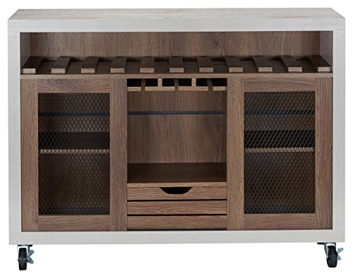 ioHOMES Vesta Industrial Two-Tone Buffet with Wine Bottle Rack, Paneled Cabinets Tiered Shelves, Slatted Drawer, Sideboard with Caster Wheels, Distressed Walnut and Cement
