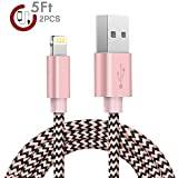 Image of iPhone Cable,Zeuste 2Pcs 5Ft/1.5M Nylon Cord Lightning Cable USB Charging iPhone Charger for iPhone 7/7 Plus/6/6 Plus/6S/6S Plus,SE/5S/5,iPad,iPod Nano 7