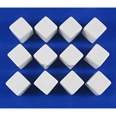 アウトレット Koplow Games White D6 Blank 16mm Dice Set with Stickers