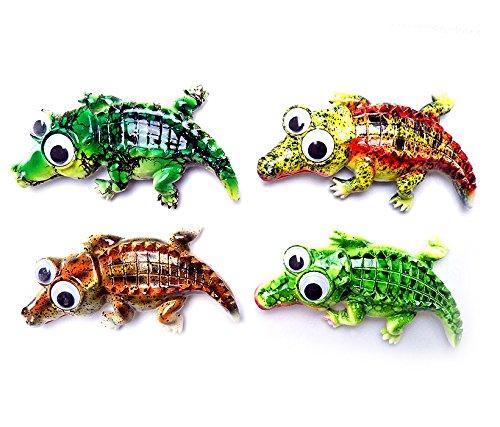 Alligator Magnet - Puzzled Alligator Refrigerator Bobble Eye Magnet (Set of 4)