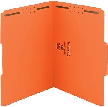 1//3 Cut Reinforced tab 2 Prongs 50 Orange Fastener File Folders Letter Size