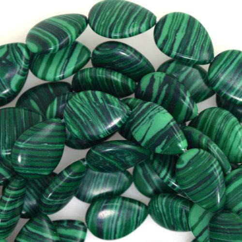 Design Making 18mm Synthetic Green Malachite Flat Teardrop Beads 15