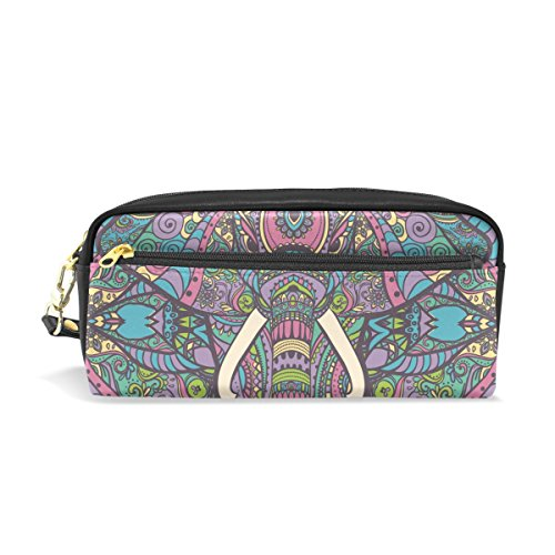 Pencil Case Pouch Storage Map With Elephant Stationery Cosmetic Makeup Wristlets Bag (Halloween Elephant Makeup)