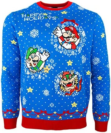 OFFICIAL SUPER MARIO BRO/'S MARIO BLUE KNITTED SWEATER JUMPER BRAND NEW