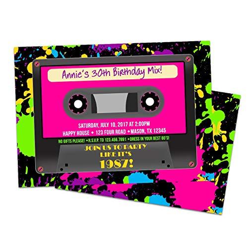 Neon Cassette Birthday Invitations Girl Paint 80's Retro Pink ()