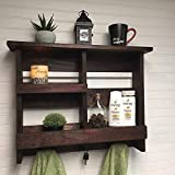Bathroom shelf with three double hooks, rustic wooden shelf, rustic bathroom decor