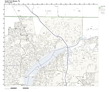 Amazon Com Zip Code Wall Map Of North Fort Myers Fl Zip Code Map