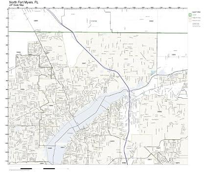 Amazon Com Zip Code Wall Map Of North Fort Myers Fl Zip Code Map