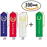 1st - 2nd - 3rd Place + Participant Premium Award Ribbons 100 Count Bundle - 25 Each Blue, Red, White, Green with String and Event Card Back, Perfect Trophy for Sports, School, and Contests - by MJ