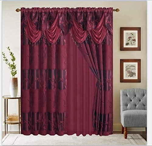 YHSF Five Star Collection Jacquard Curtain Set Two Panels Elegant Curtain Panel Set