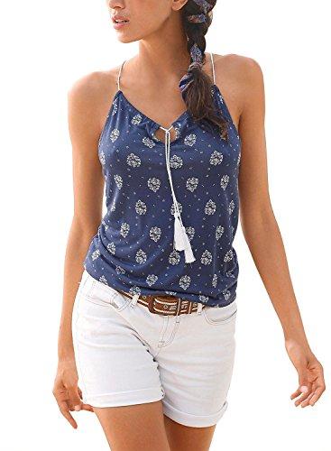 BLENCOT Women's Summer Sleeveless Spaghetti Strap Halter Floral Printed Cami Tank Tops Blue Small