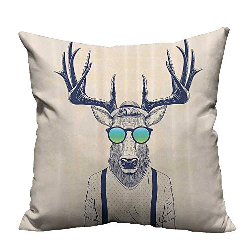 YouXianHome Pillowcase with Zipper Deer Dressed Up Like Cool Hipster shiFun Animal Prin Ultra Soft & Hypoallergenic (Double-Sided Printing) 16x16 inch]()