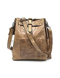 Sheli Womens Vintage Brown Unique Design Leather Fringe Hobo Drawstring Crossbody Side Purse Handbag