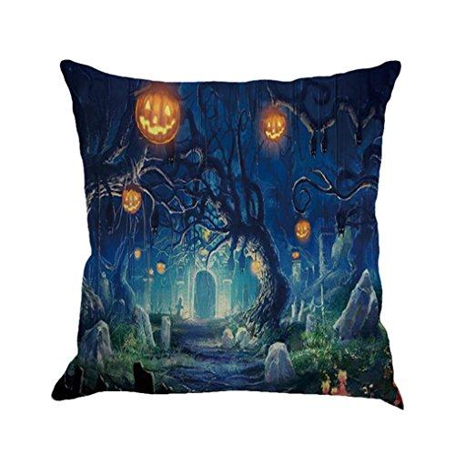 Halloween Throw Cushion Cover, Kimloog Pumpkin Bat Linen Sofa Car Bedroom Decorative Square Pillow Case (B)