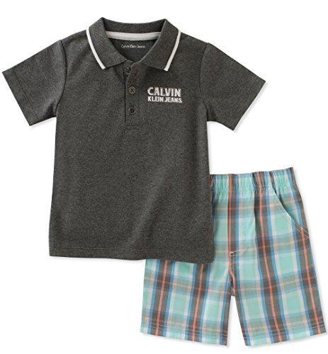 - Calvin Klein Baby Boys 2 Pieces Bodysuit Shorts Set, Gray/Mint Green, 3-6 Months