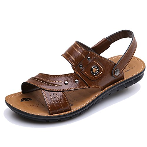 Stifai Mens Sandaler Svalt Lädermotståndskraftigt Strand Sandels Brun