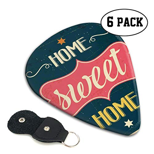 Guitar Picks 6 pcs,Weathered Looking Retro Sixties Style Sign Image With Motivational ()