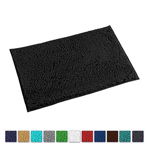 LuxUrux Bathroom Rug Mat -Extra-Soft Plush Bath Shower Bathroom Rug,1'' Chenille Microfiber Material, Thickening Shaggy Tub Mat Carpet, Super Absorbent. Machine Wash & Dry (20''x 30'', Black)