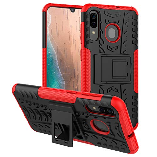 Galaxy A20 Case,Samsung A20 Case,Galaxy A50 Case,PUSHIMEI with Kickstand Hard PC Back Cover Soft TPU Dual Layer Protection Phone Case Cover for Samsung Galaxy A20/A30/A50 (Red Kickstand case) (Telephone Tactile Samsung)