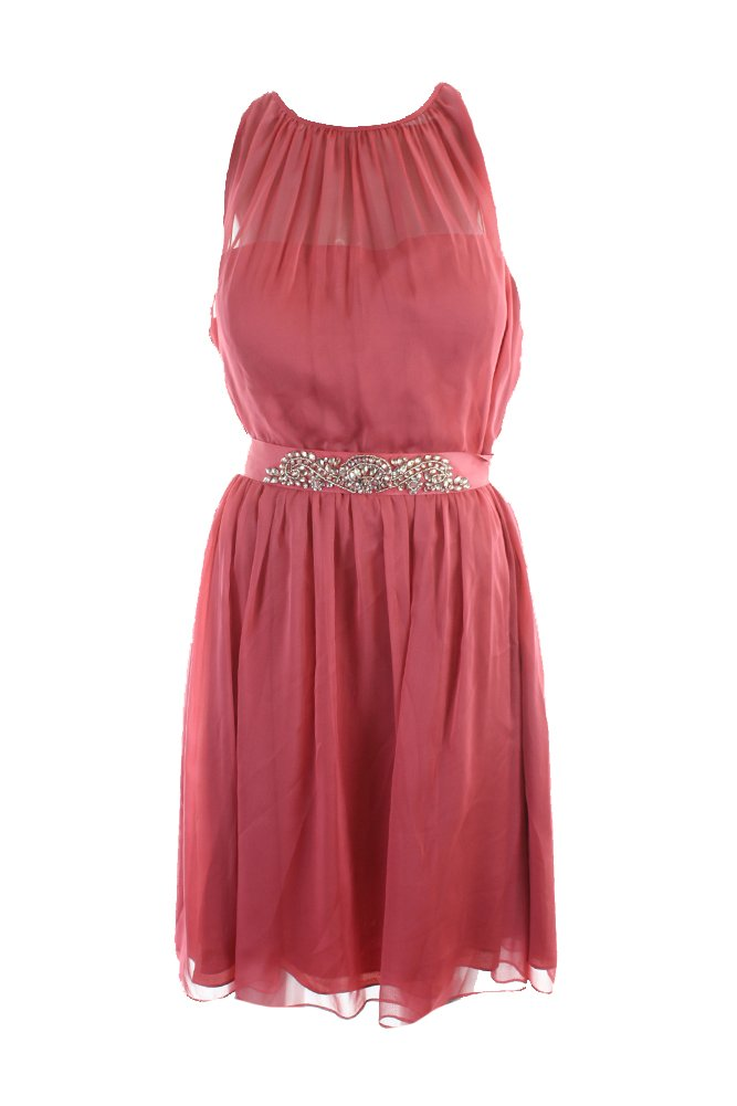 Adrianna Papell Women's Belted Chiffon Halter Dress (8, French Coral)
