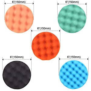 "ZFE 6Pcs 6"" Waffle Buffing Polishing Pad Set For Car Polisher Detail Polishing"