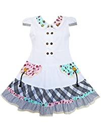 Sunny Fashion Girls Dress White Cute Colorful Collar Back School