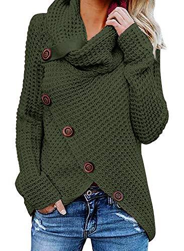 Yidarton Women's Chunky Turtleneck Knit Sweater Asymmetric Hem Wrap Sweater Coat with Button (Large, ArmyGreen)