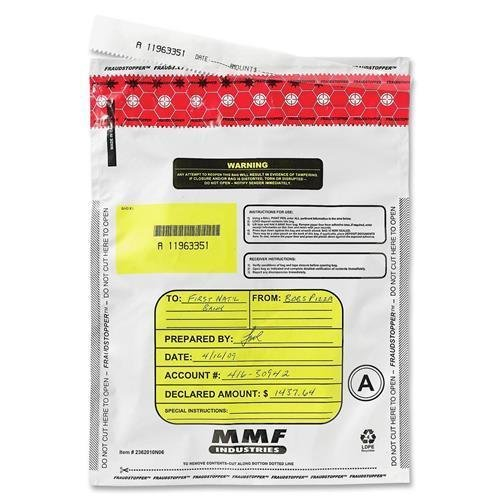 "MMF 2362011N06 Tamper-Evident Deposit Bag - 12"" x 16"" - 2.75 mil (70 Micron) Thickness - Polyethylene - 100/Box - White"