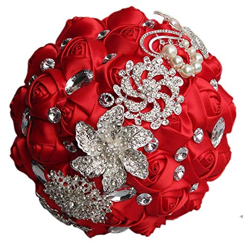 (Flonding Wedding Bouquets Crystal Satin Rose Bride Bridal Bouquet Romantic Bridesmaid Holding Flower for Valentine's Day Confession Party Church Decor (Red))