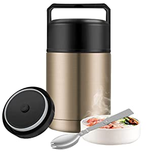 Thermos Food Jar,27 oz Food Thermos for Hot Food,Wide Mouth Thermos for Soup,Insulated Food Jar,Thermal Lunch Container with Handle,Leak Proof Stainless Steel Vacuum Insulated Food Flask (Gold)