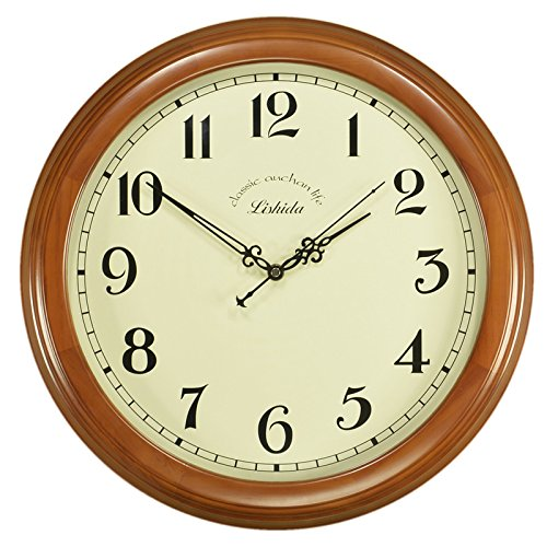 Stylish, Silent Wall Clock Home,KitchenEuropean Solid Wood Retro Mute Wall Clock Living Room Clock Antique Wall Clock American Style Wall Clock Quartz Clock, 16 inches, Chestnut Color [Arabic Word]